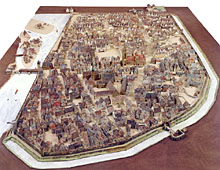 The Picture shows a model of Heilbronn previous the demolition of the city walls and gates