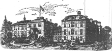 Garfield Memorial Hospital, lithograph by Cluss and Schulze. The building on the right was done by Cluss and Schulze.